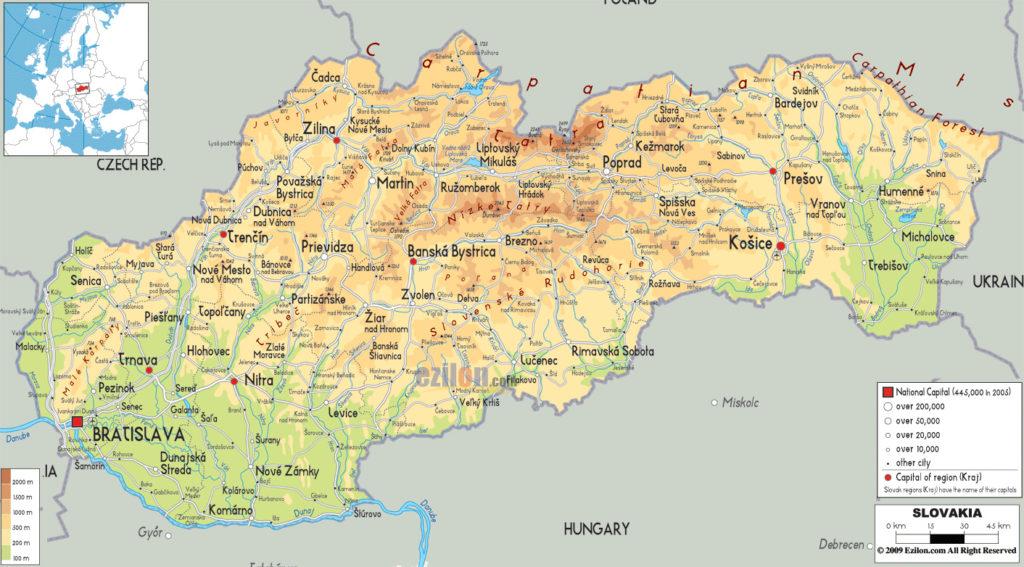 Mapa del relieve y montañas de Eslovaquia
