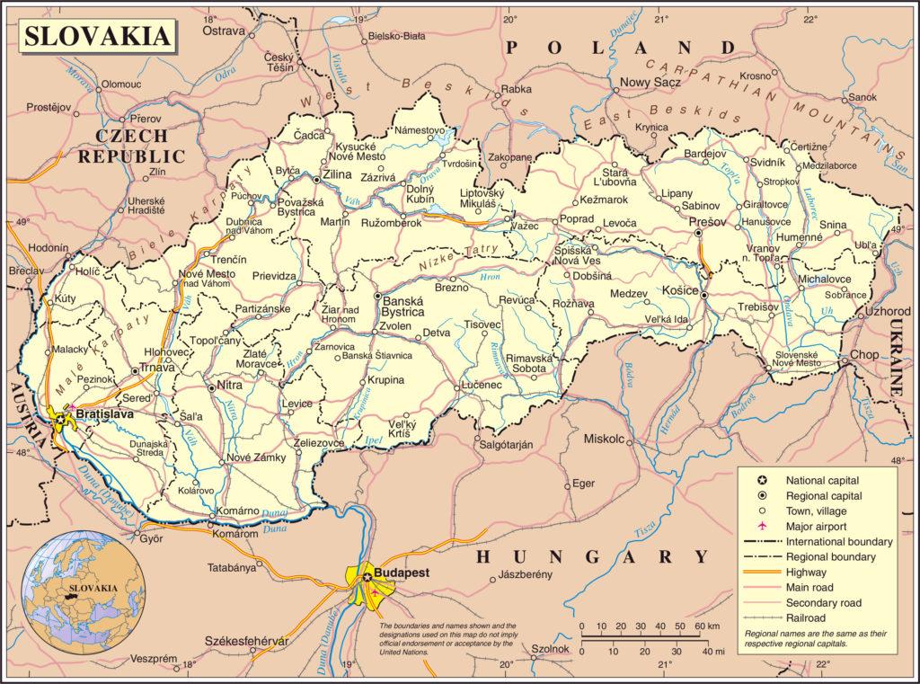 Mapa de carreteras de Eslovaquia