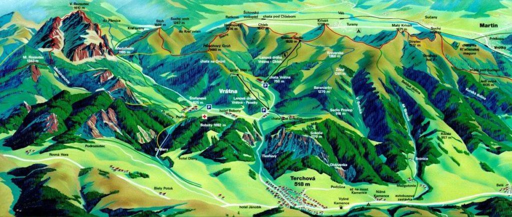 Mapa de las montañas de Mala Fatra