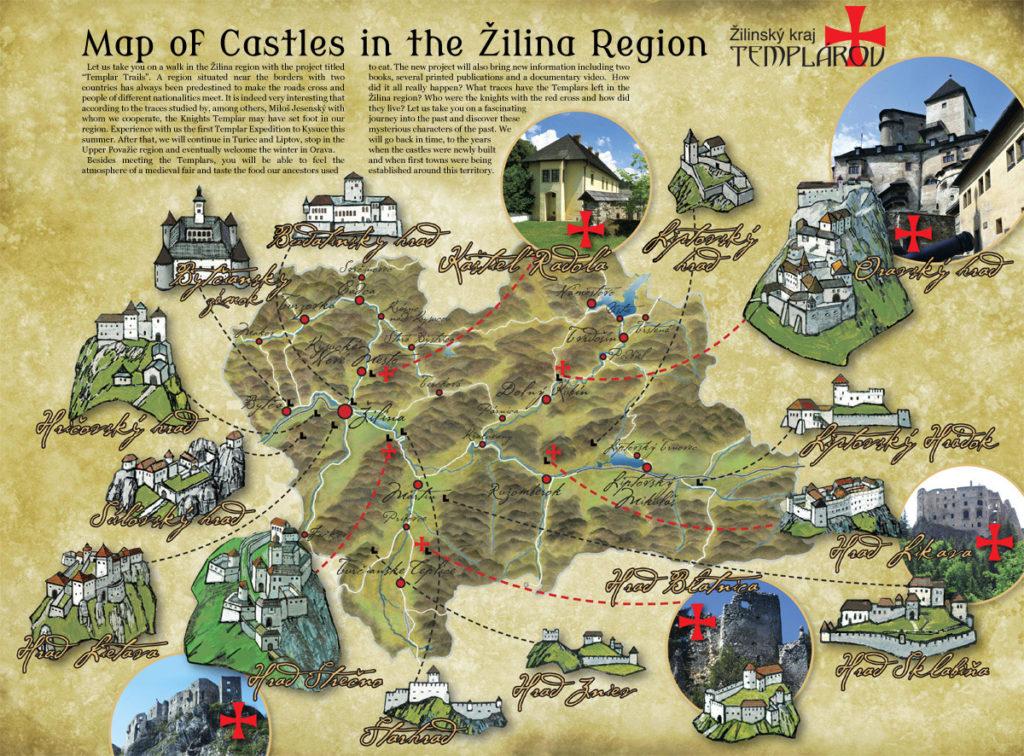 Mapa de castillos en la región de Zilina