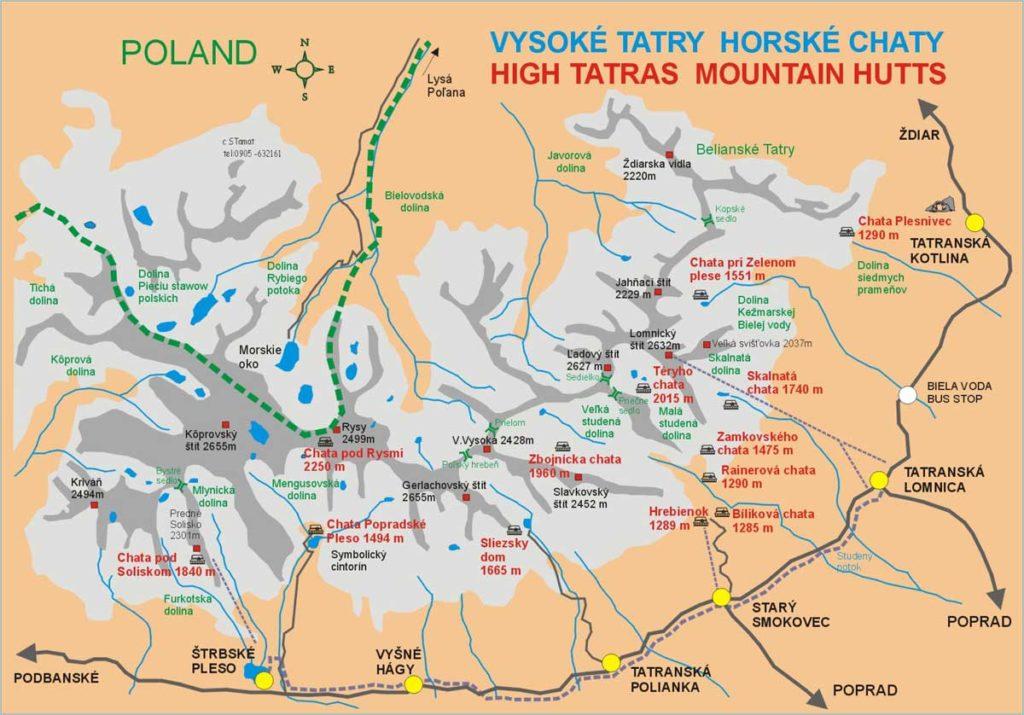 Mapa de los refugios de montaña en las Tatras