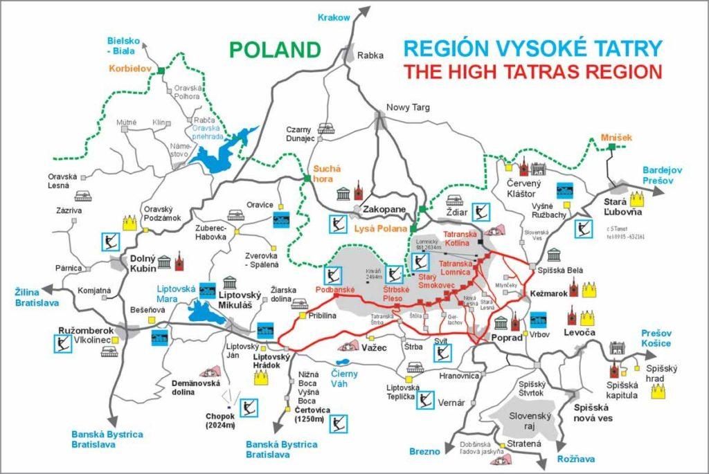 Mapa de los Altos Tatra